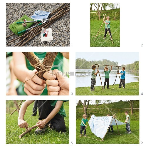 Making a play tent from branches and sheet