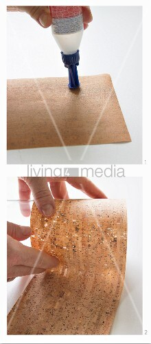 Instructions for covering a glass vase with cork
