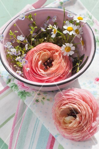 Ranunculus and speedwell in bowl on linen napkin