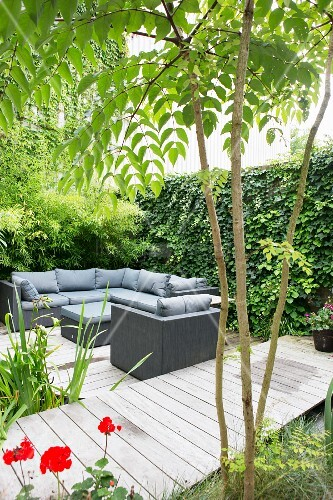 Lounge area on wooden deck next to garden pond and jetty with climber-covered screen wall