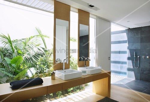 Modern bathroom with glass wall and view into exotic bathroom
