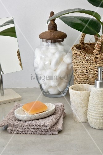 Bathroom utensils in natural shades