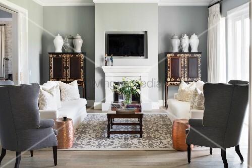 Symmetrical furnishings in classic living room