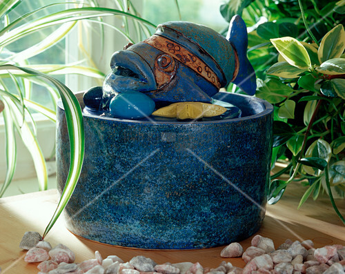 Ceramic fish as a water feature