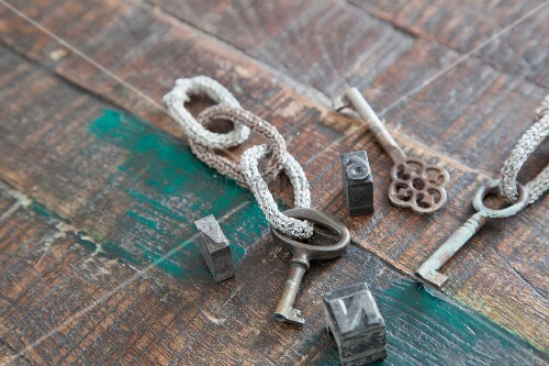 Vintage keys with knitted key chains