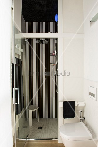 Floor-level shower and striped wall in small bathroom