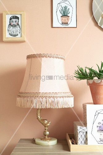 Artistic table lamp with traditional lampshade next to succulent in terracotta pot arranged on top of decorative boxes