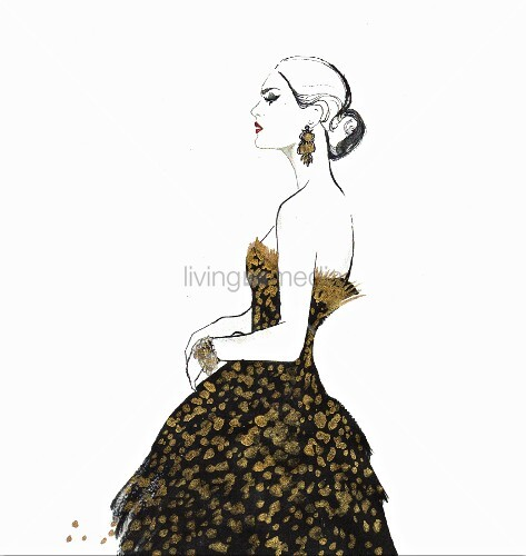 Elegant haughty woman wearing strapless black and gold evening gown