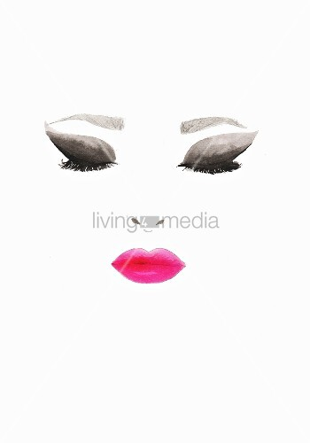 Eyes and lips with makeup on white background