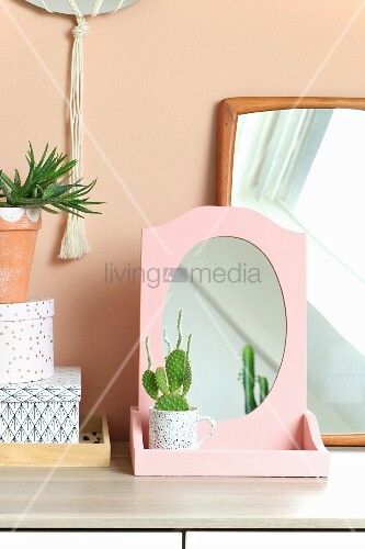 Cactus planted in teacup in front of mirror with pink frame