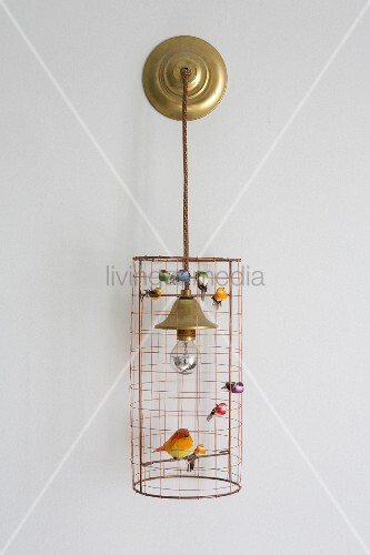 Wire lampshade decorated with bird ornaments