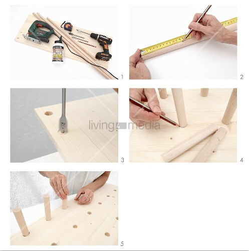 Instructions for making wall-mounted shelves from a wooden board and pegs