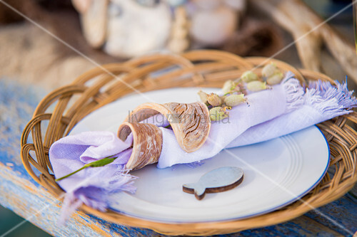 Summery place setting with fish motif