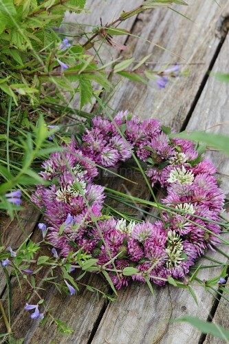 Wreath of clover flowers on weathered wooden surface