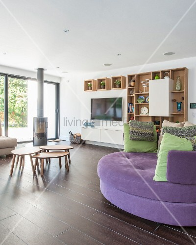 Round sofa in modern living room