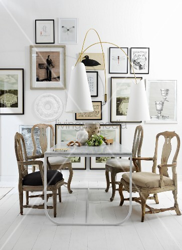 White dining table and artworks