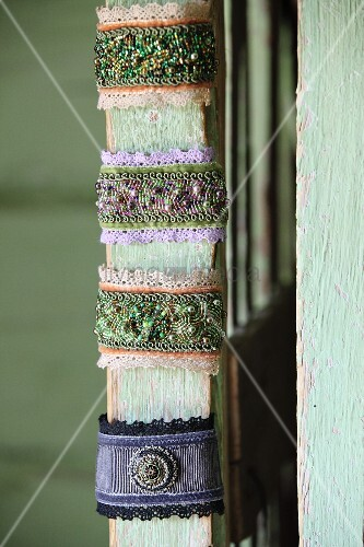 Hand-woven bracelets with glass beading and lace trim