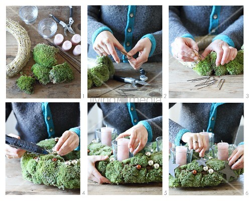 Instructions for making an Advent wreath from moss
