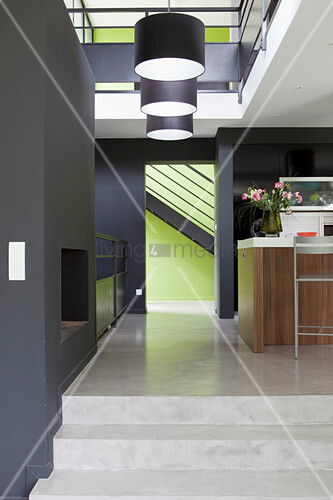 Kitchen counter in open-plan split-level interior