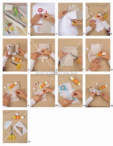 Anleitung für ein Haus aus Pappe mit buntem Papier