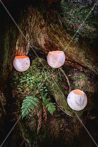 Handmade papier-mâché candle lanterns