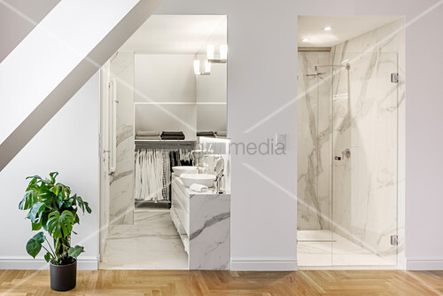 View into elegant bathroom and shower room clad in marble