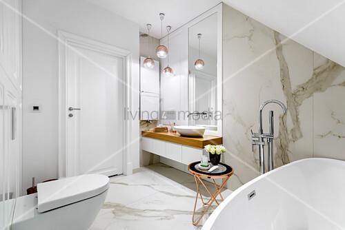 Elegant bathroom with marble tiles