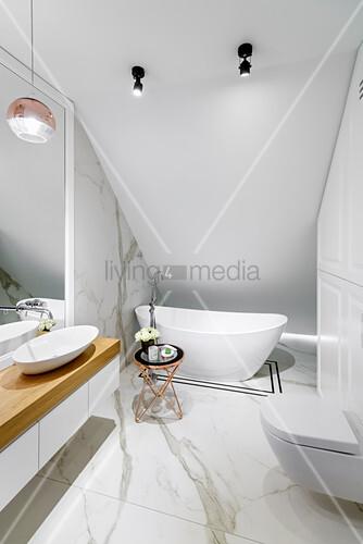 Marble tiles in elegant bathroom