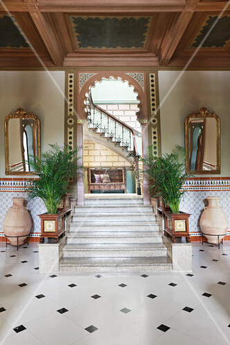 Stone steps in elegant hall