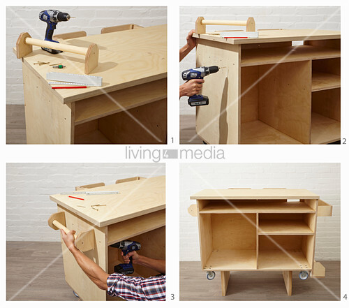 Instructions for building a workshop trolley (attaching bracket)