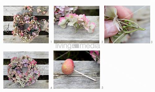Kranz binden aus Hortensien und Äpfel