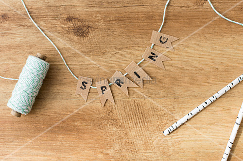 Homemade garland of the word 'Spring'