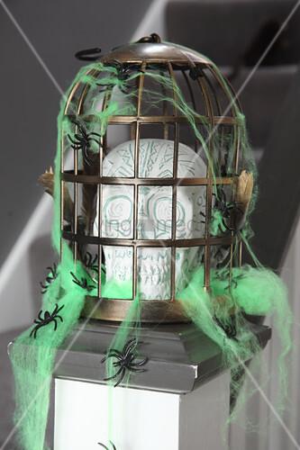 DIY Halloween decoration: skull in cage