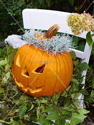 Carved pumpkin for Halloween on garden chair