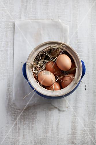 Steinguttopf mit Heu und braunen Eiern