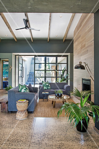 Grey sofa in open-plan living room in Urban Jungle style