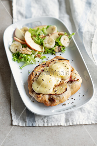 Focaccina with apple and taleggio