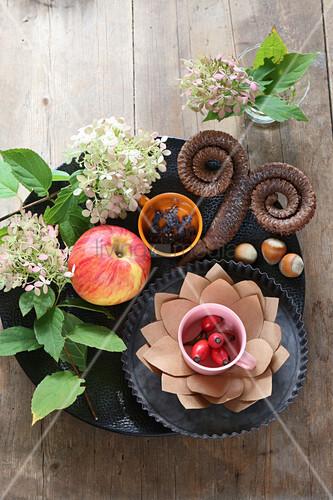 Herbstliche Tischdekoration mit Apfel, Hagebutten, Hortensienblüten und Widderzapfen