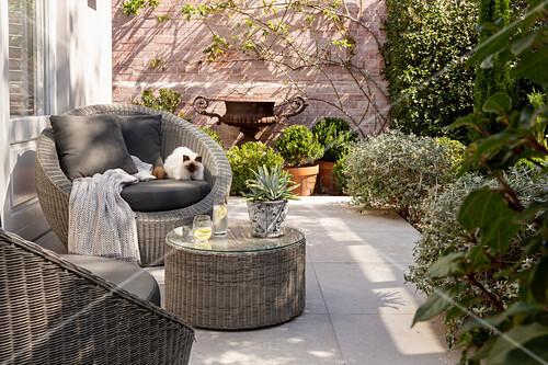 Round wicker furniture on terrace in courtyard garden