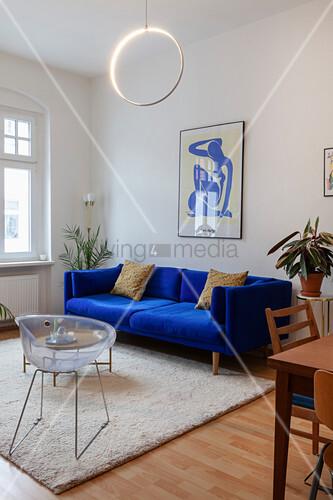 Royal Blue Sofa Retro Chair And Coffee Buy Image 12999714