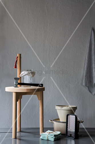 Stool and kitchen utensils