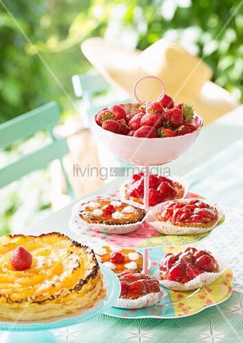 Strawberry tarts on hand-made cake stand