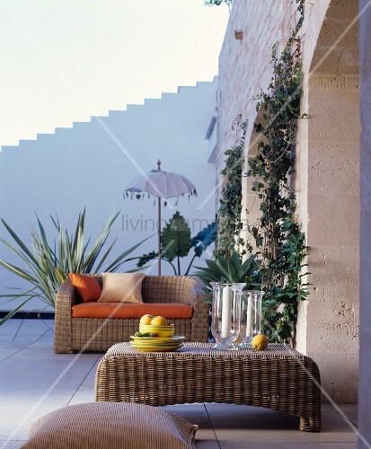 Wicker furniture on Mediterranean terrace