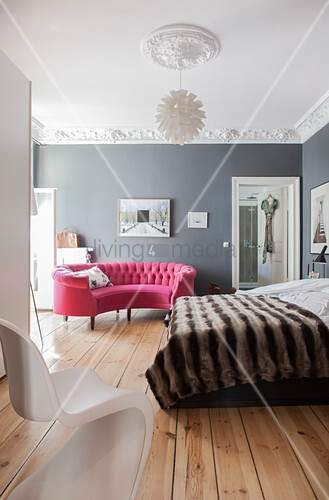 Curved Pink Sofa In Bedroom With Grey Buy Image 12311566