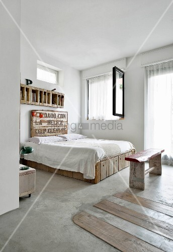 Furniture made from reclaimed wood in bedroom