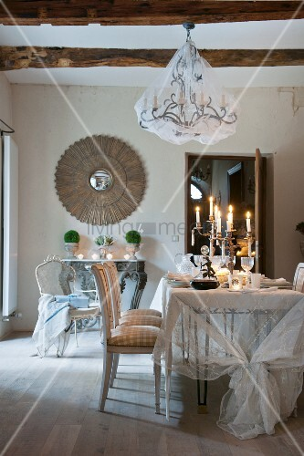 Cool Chandelier With Net Cover Above Candles On Festively Set Interior Design Ideas Tzicisoteloinfo
