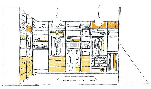 Illustration of a walk-in wardrobe
