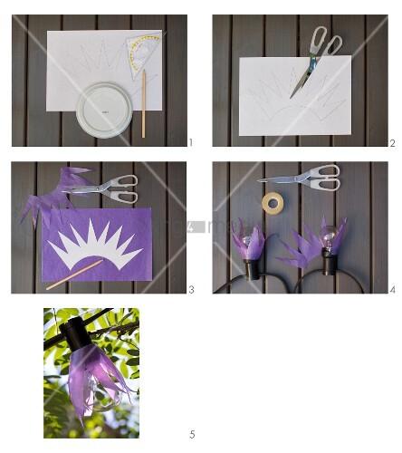 lampenschirmchen aus transparentpapier f r lichterkette basteln bild kaufen living4media. Black Bedroom Furniture Sets. Home Design Ideas