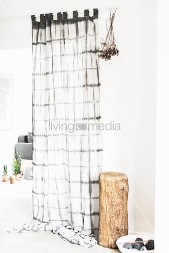 Curtains hand-dyed using Shibori technique
