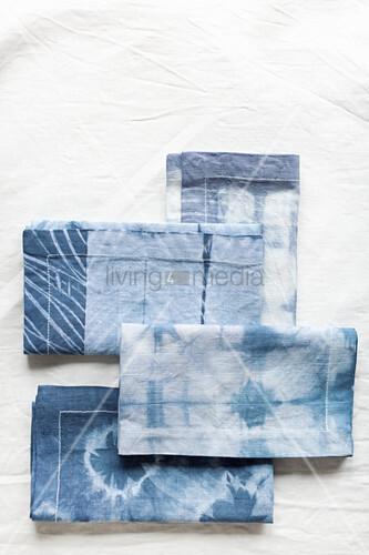 Place mats hand-dyed using Shibori technique